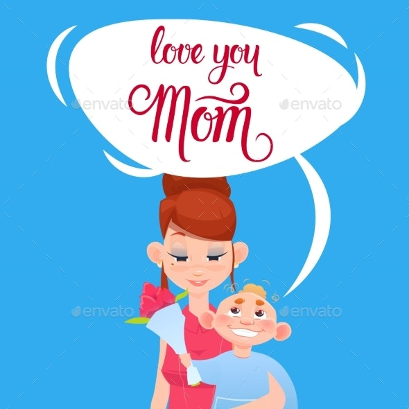 Happy Mother Day, Son Giving Mom Flowers, Spring - Miscellaneous Vectors