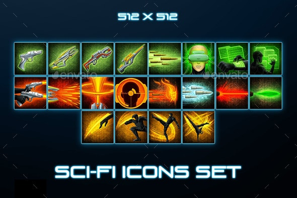 20 Sci-Fi Skill Icons - Miscellaneous Game Assets