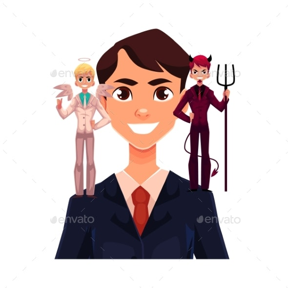 Business Man with Angel and Devils Decision - People Characters