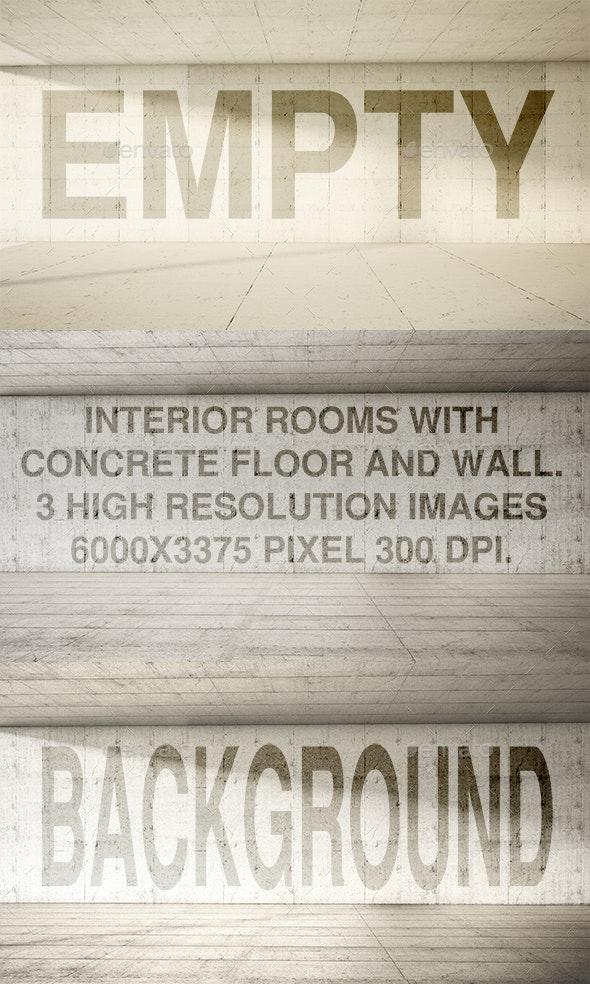 Empty Interior Frontal Concrete - Architecture 3D Renders