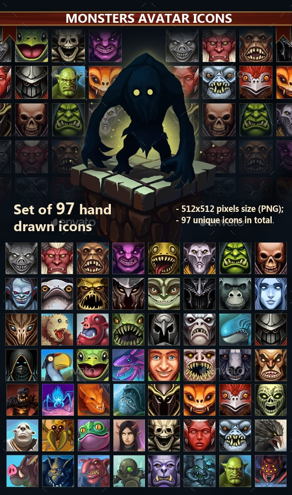 Monsters Avatar Icons - Miscellaneous Game Assets