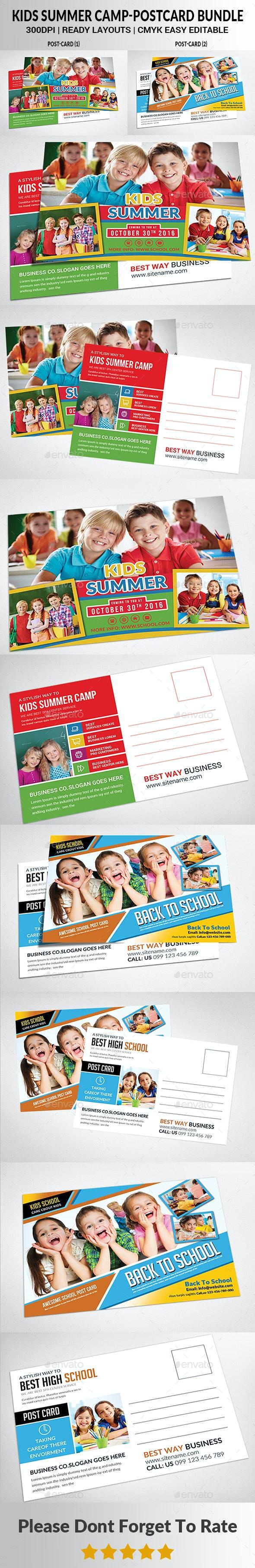 Kids Summer Camp Postcard Bundle - Cards & Invites Print Templates