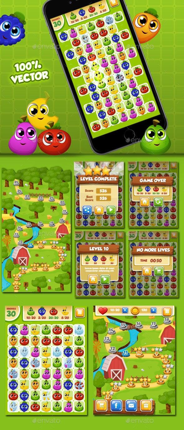 Match 3 - Set Fruits - Game Kits Game Assets