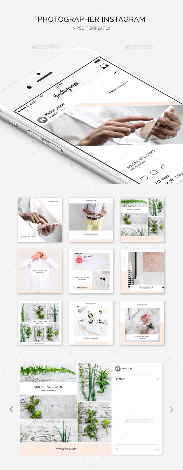 Photographer Instagram – 9 Designs - Social Media Web Elements