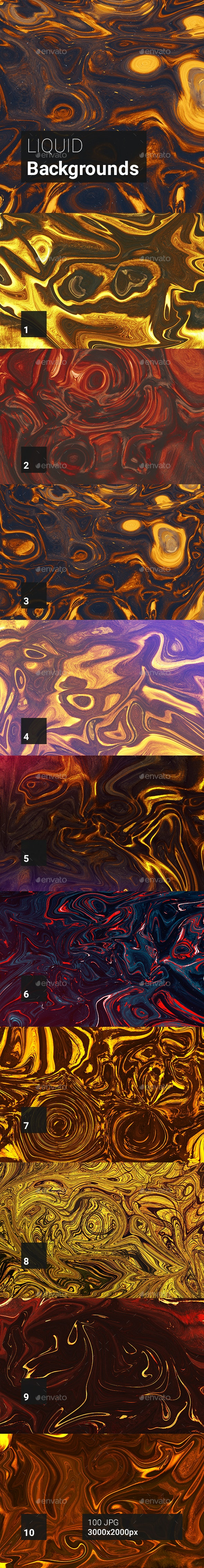 100 Liquid Backgrounds - Abstract Backgrounds