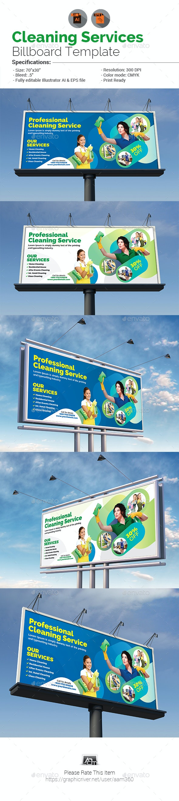 Cleaning Service Billboard - Signage Print Templates