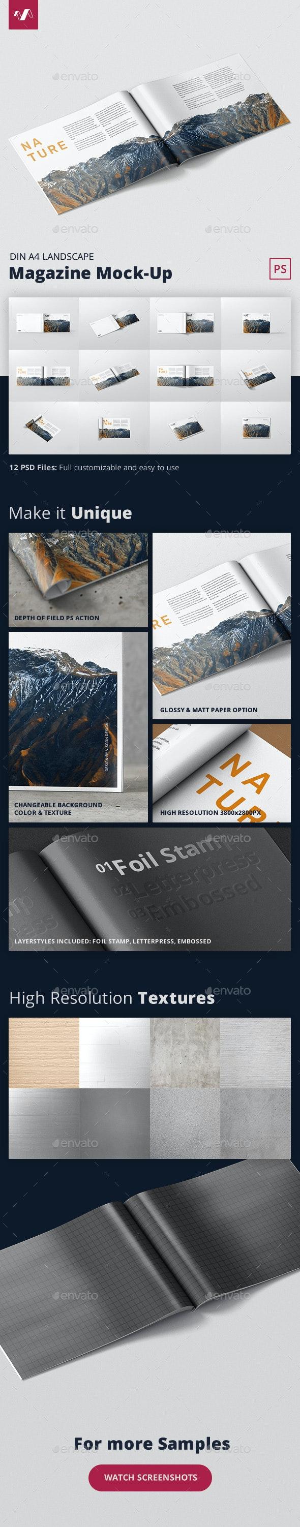 Magazine Mockup - A4 Landscape - Magazines Print