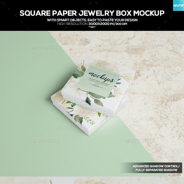 Square Paper Jewellery Box Mockup
