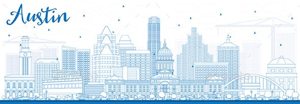 Outline Austin Skyline with Blue Buildings - Buildings Objects