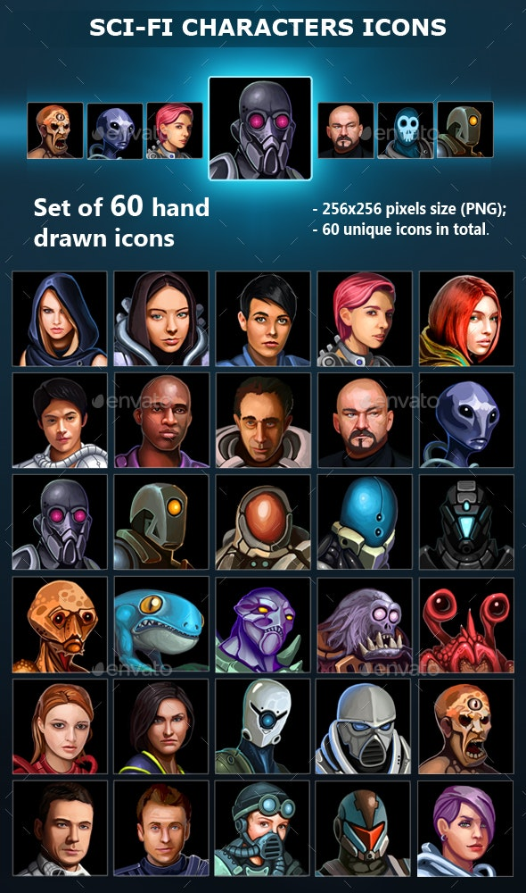 Sci-Fi Characters Icons - Miscellaneous Game Assets
