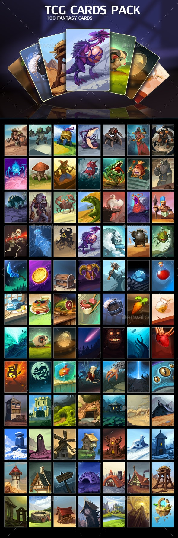 TCG Cards Pack - Miscellaneous Game Assets