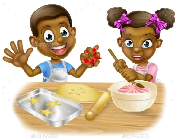 Cartoon Children Chefs Cooking - Miscellaneous Vectors