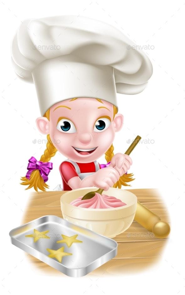 Cartoon Girl Baking - Food Objects