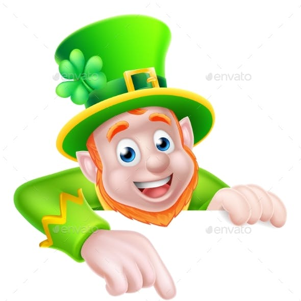 St Patricks Day Cartoon Leprechaun Pointing