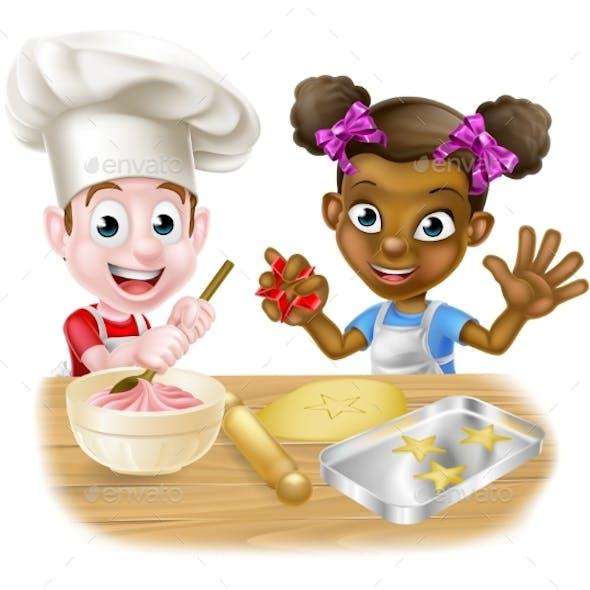 Kids Playing at Baking