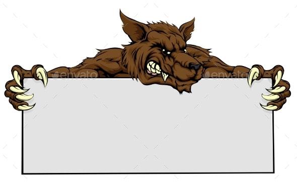 Wolf Mascot Sign - Miscellaneous Vectors