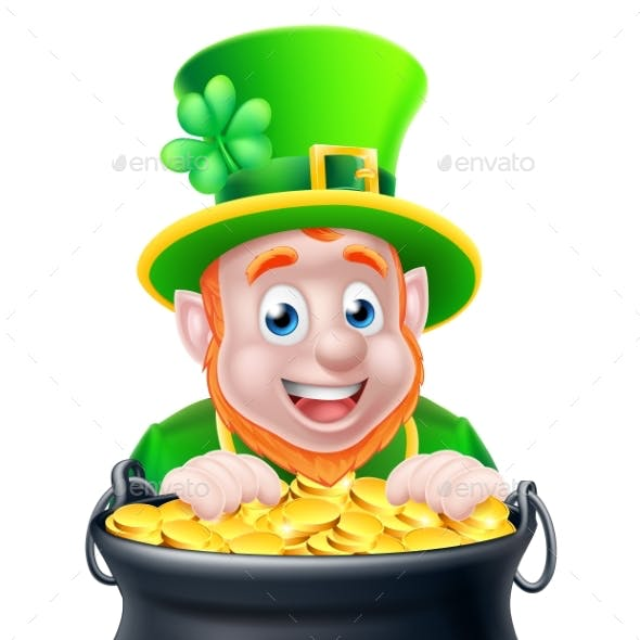 Cartoon Leprechaun and Pot of Gold