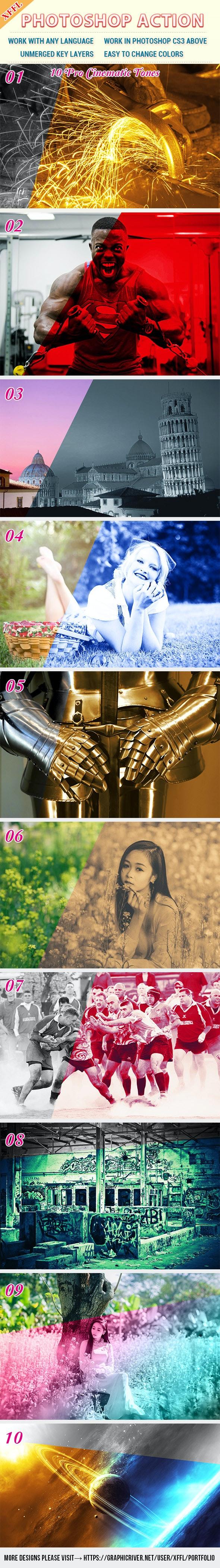 10 Pro Cinematic Tones Photoshop Action - Photo Effects Actions