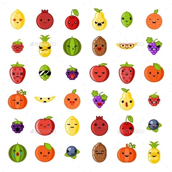 Cute Emoji Smile Fresh Fruit Apple Cherry - Food Objects