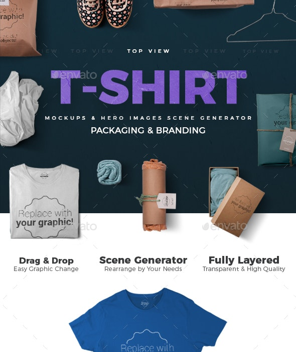 T-shirt Mockups and Packages - Hero Images Scene Generator - Hero Images Graphics