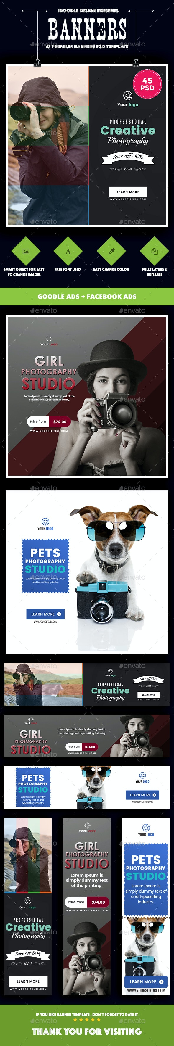 Bundle - Multi Concept Photography Banners Ads - [45PSD] - Banners & Ads Web Elements