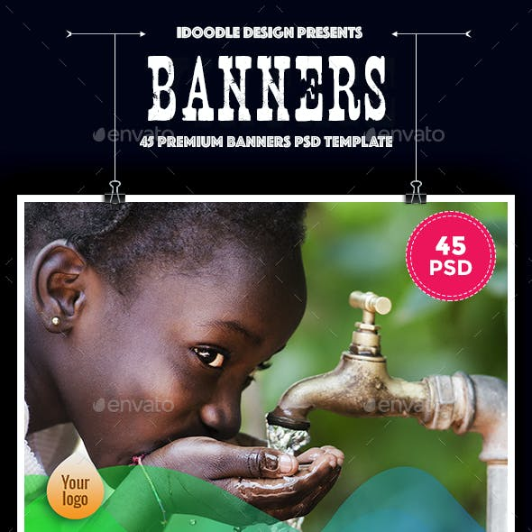 Bundle - Nonprofit - NGO, Charity/Fundraising Banner Ads [45 PSD]