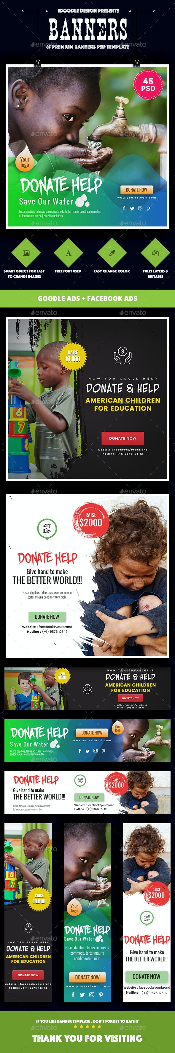 Bundle - Nonprofit - NGO, Charity/Fundraising Banner Ads [45 PSD] - Banners & Ads Web Elements