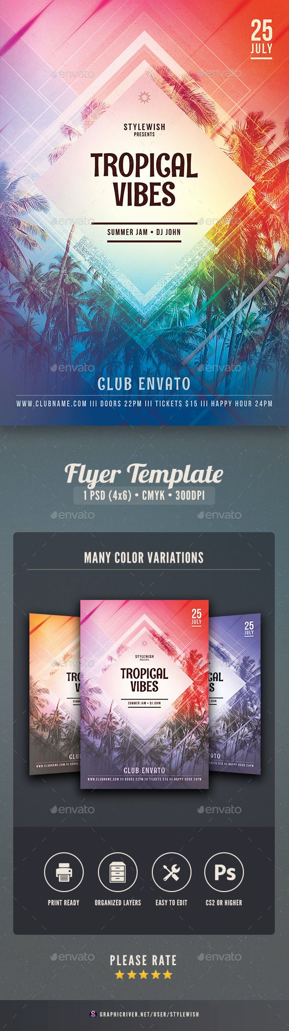 Tropical Vibes Flyer - Clubs & Parties Events