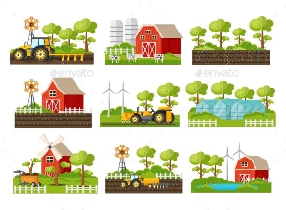 Farming Elements Set - Objects Vectors