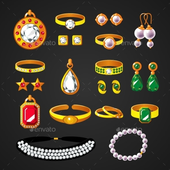 Colorful Jewelry Accessories Icons Set - Objects Vectors