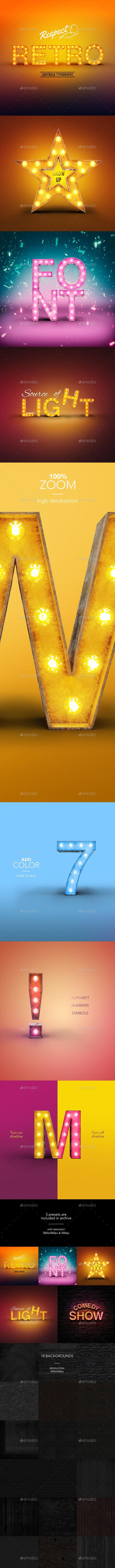 Retro Lightbulb Font - Text 3D Renders