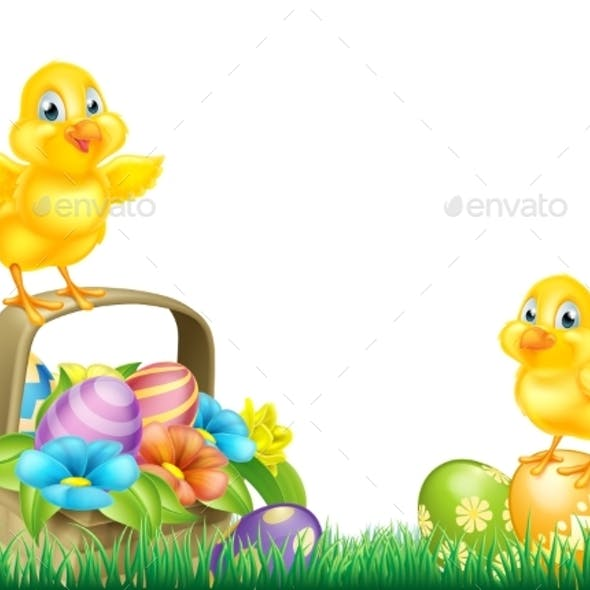 Chicks and Easter Eggs Basket Field