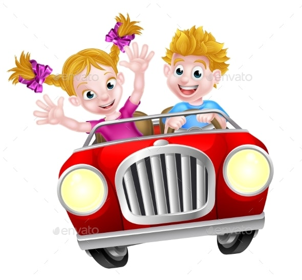 Cartoon Boy and Girl Driving Car - People Characters
