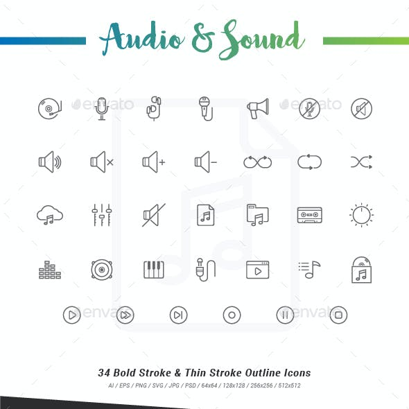 34 Audio & Sound Outline Stroke Icons