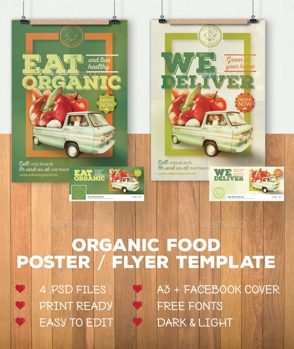 Organic food poster / flyer template - Commerce Flyers