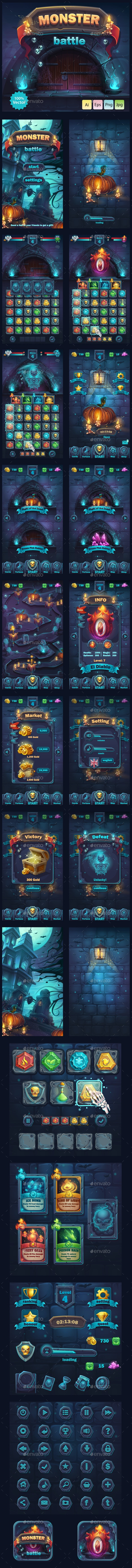 Monster Battle GUI - User Interfaces Game Assets