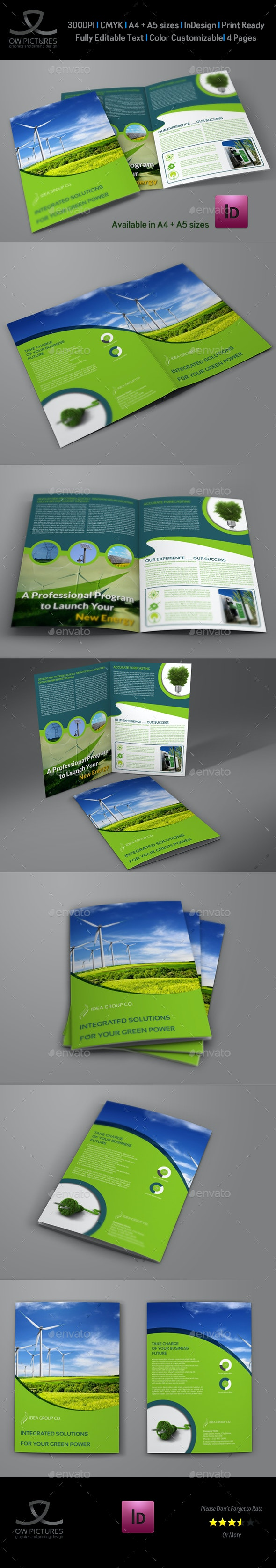 Green Energy Company Brochure Bi-Fold Template - Brochures Print Templates