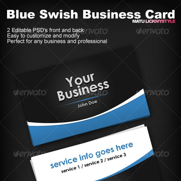Blue Swish Business Card