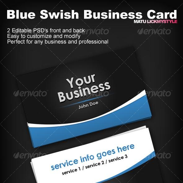 Blue Swish Business Card