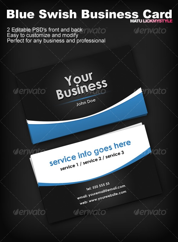 Blue Swish Business Card - Corporate Business Cards