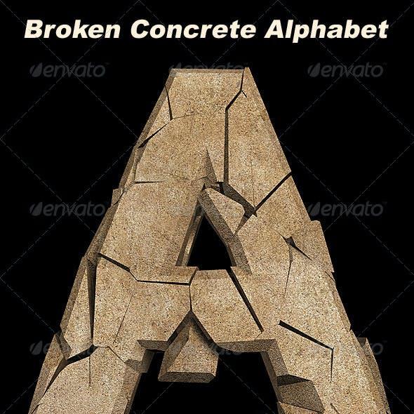 3D Broken Concrete Alphabet