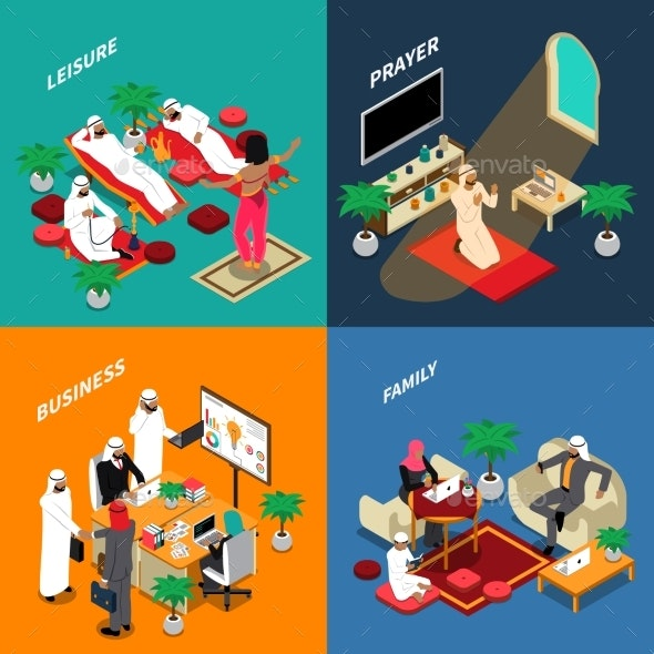 Arab People Lifestyle Isometric Design Concept - Business Conceptual