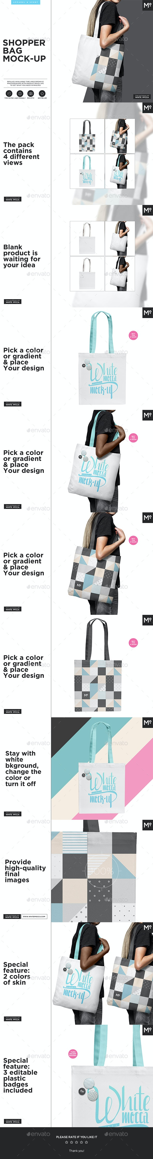Canvas Shopper / Tote Bag Mock-up - Miscellaneous Product Mock-Ups