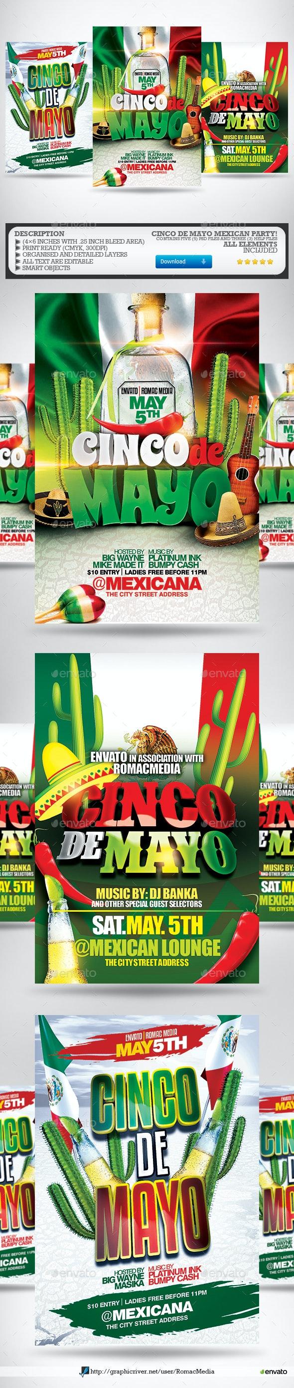 Cinco De Mayo Party Flyer Bundle - Clubs & Parties Events