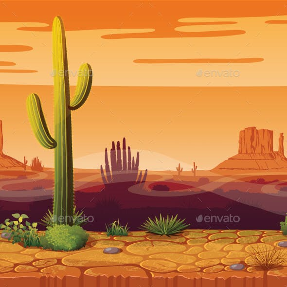Horizontal Seamless Background of Arizona Landscape