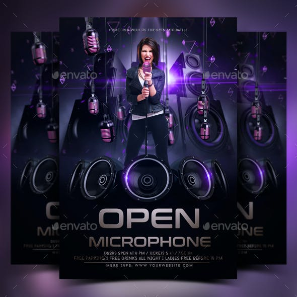 Open Microphone Flyer Template