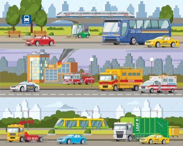 Modern Urban Traffic Horizontal Banners - Backgrounds Decorative