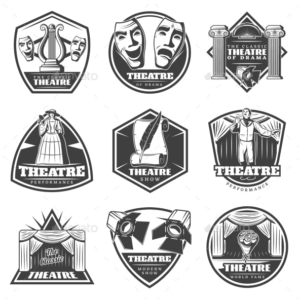 Vintage Monochrome Theatre Labels Set - Miscellaneous Vectors