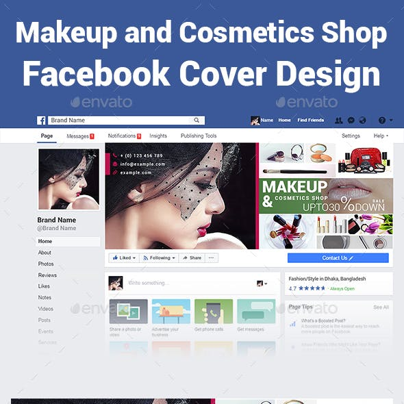 Makeup and Cosmetics Shop Facebook Cover Design