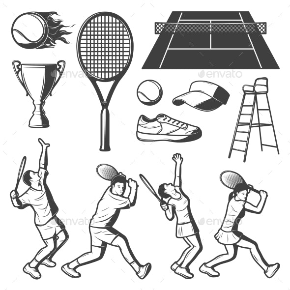 Vintage Tennis Elements Collection - Sports/Activity Conceptual